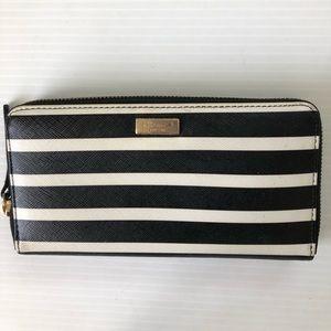 Kate Spade Neda Black White Stripe Wallet